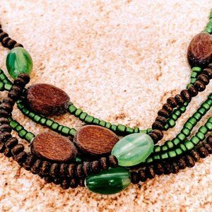 5 Strand Green Brown Bead Necklace